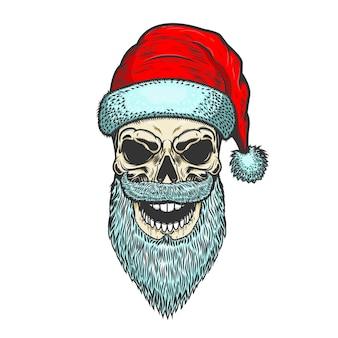 白い背景の上のサンタクロースの頭蓋骨。クリスマスのテーマ。エンブレム、ポスター、tシャツのデザイン要素。