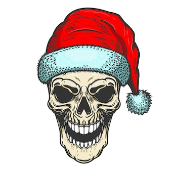 Santa claus skull on white background