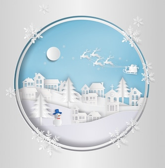 Santa claus on the sky coming to city. with winter landscape with snowflakes. paper art st
