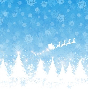 Santa claus on a sled flying blue background