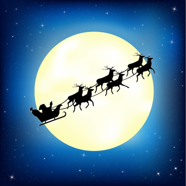 Santa claus on sledge with deer and moon