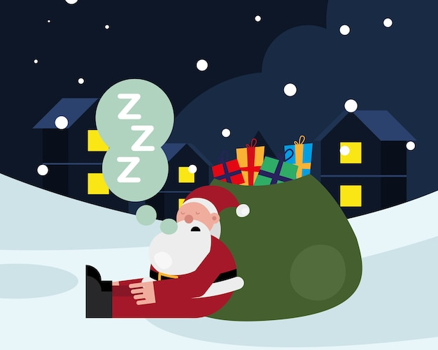 Santa claus sleeping in gifts bag christmas character vector illustration design