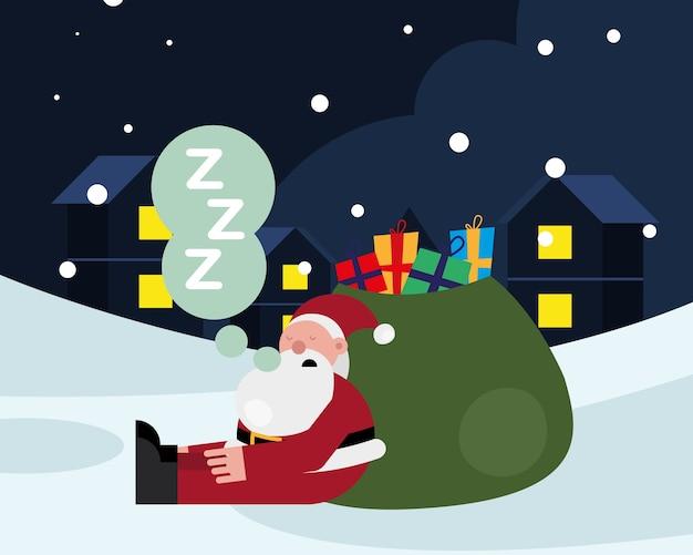 ギフトバッグで眠っているサンタクロースクリスマス文字ベクトルイラストデザイン
