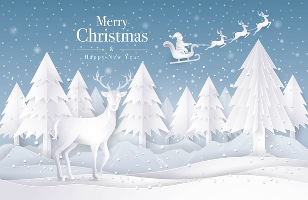 Santa claus sleigh flying on the sky