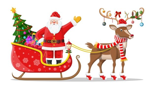 Santa claus on sleigh full of gifts, christmas tree and his reindeer. happy new year decoration. merry christmas holiday. new year and xmas celebration.