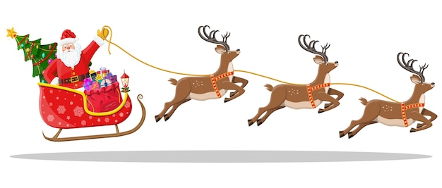 Santa claus on sleigh full of gifts, christmas tree and his reindeers. happy new year decoration. merry christmas holiday. new year and xmas celebration.   in
