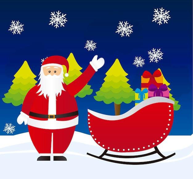 Santa claus on sleigh over night witn landscape vector