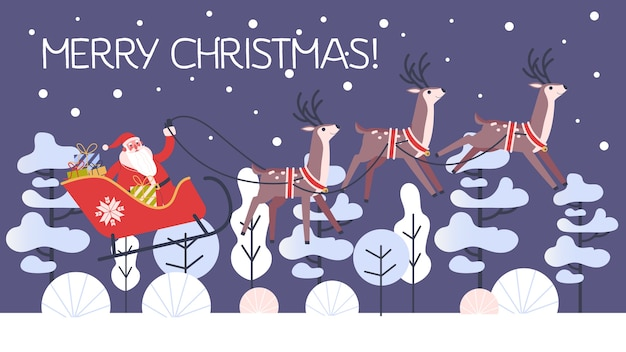 Santa claus in sleigh and running deer. christmas character with gift