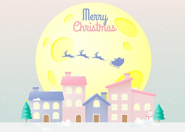 Santa claus on the sleigh with beautiful sky in paper art and pastel schenme