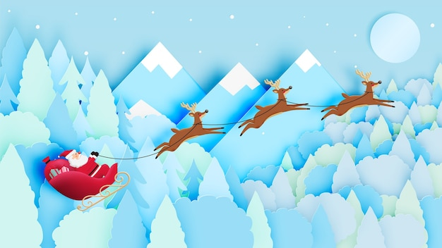 Santa claus on the sleigh with beautiful sky in paper art