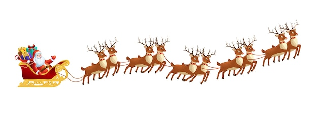 Santa claus in sleigh with reindeers on on white background merry christmas and happy new year decoration