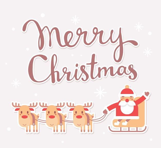 Santa claus on sleigh with text merry christmas