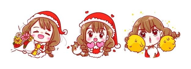 サンタクロースの笑顔とメリークリスマスに孤立した幸せ