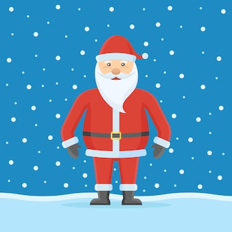 Santa claus on snow in flat style.