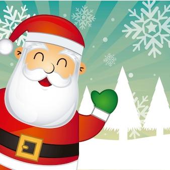 Santa claus over snow landscape background vector illustration
