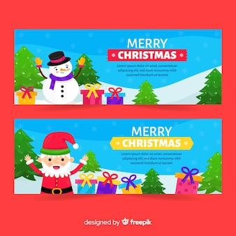 Santa claus and snowman banners