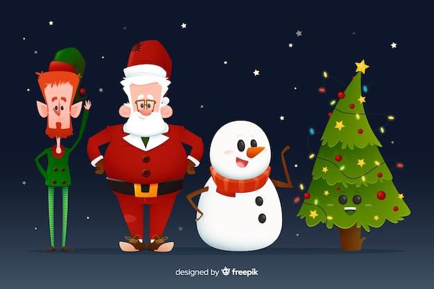 Santa claus snowman and christmas tree collection