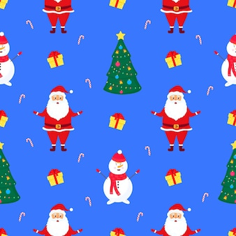 Santa claus, snowman and christmas tree seamless pattern.