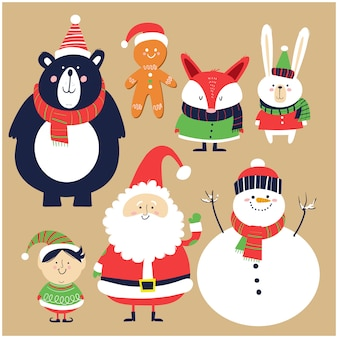 Santa claus, snowman, elf, and forest animals in cartoon style