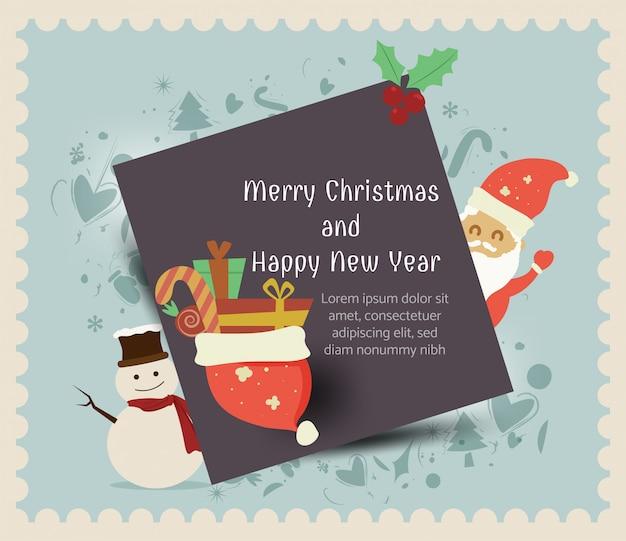 산타 클로스, 눈사람, 새해 복 많이 받으세요, 행복한 인사말 카드, 메리 크리스마스 선물 상자, 겨울