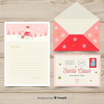 Santa claus snowman letter template