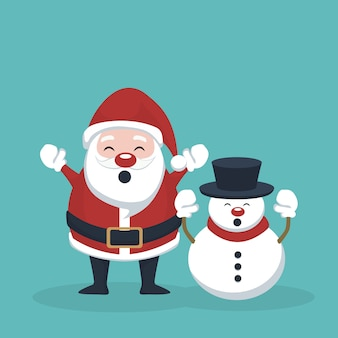Santa claus and snowman raising hands