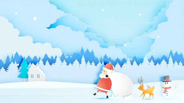 Santa claus, snowman and reindeer in paper art style with snow and snowflake background