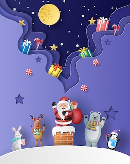 Santa claus standing on a chimney with friends and many gift boxes.