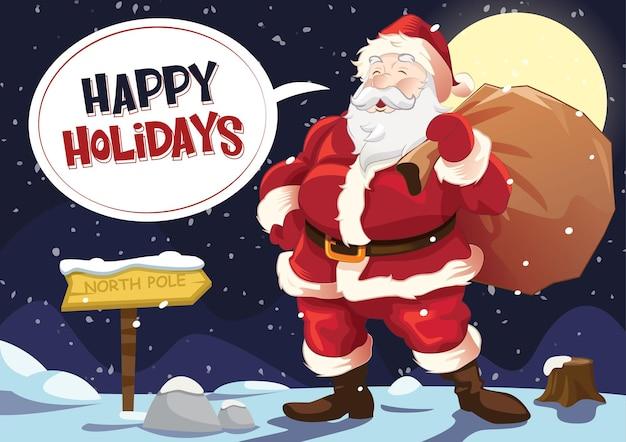 Дед мороз стоит в снегу с мешком подарков и улыбкой