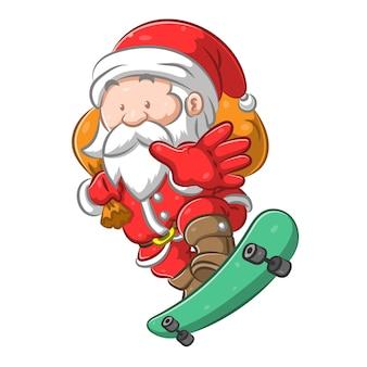 Санта-клаус стоит на скейтборде и держит мешок с подарком