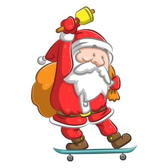 스케이트 보드에 서서 벨을 들고 산타 클로스