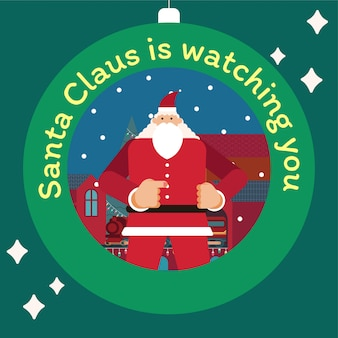 Santa claus standing and point the finger