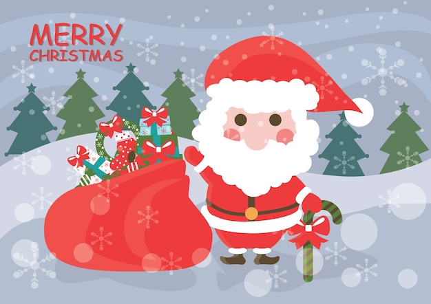 Santa claus standing in the snow with a bag of gifts and smile