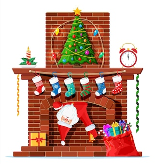 굴뚝에 갇힌 산타클로스. 양말, 양초, 선물 상자, 나무, 화환이 있는 벽난로. 새해 복 많이 받으세요 장식. 메리 크리스마스 휴일입니다. 새 해와 크리스마스 축 하입니다. 벡터 일러스트 레이 션 평면 스타일