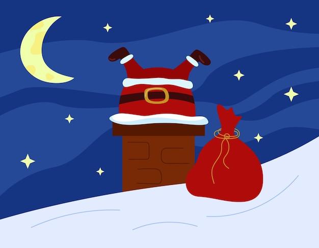 산타 클로스는 지붕에 굴뚝에 갇혀 크리스마스 재미 있은 유머 인사말 카드 별이 빛나는 하늘 배경