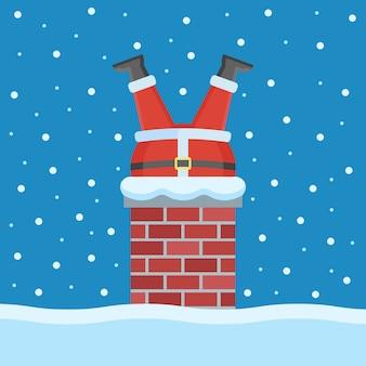 산타 클로스는 평면 스타일로 지붕의 굴뚝에 갇혀 있습니다.