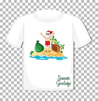 Santa claus in summer costume cartoon character on t-shirt isolated on grid background