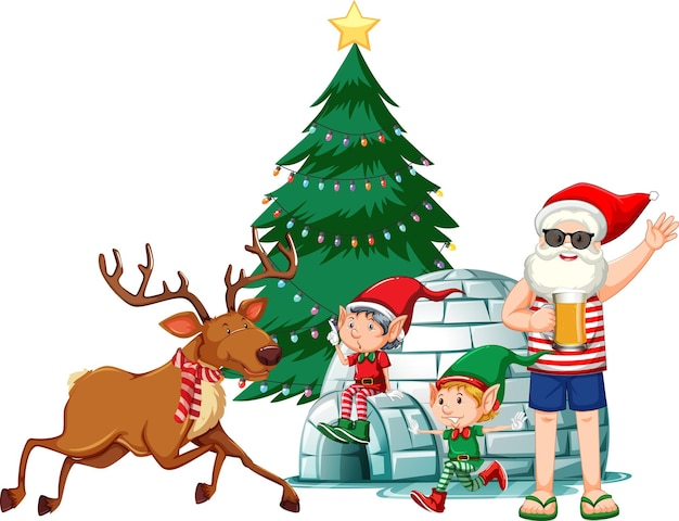 Babbo natale in costume estivo con elfo e raindeer su sfondo bianco