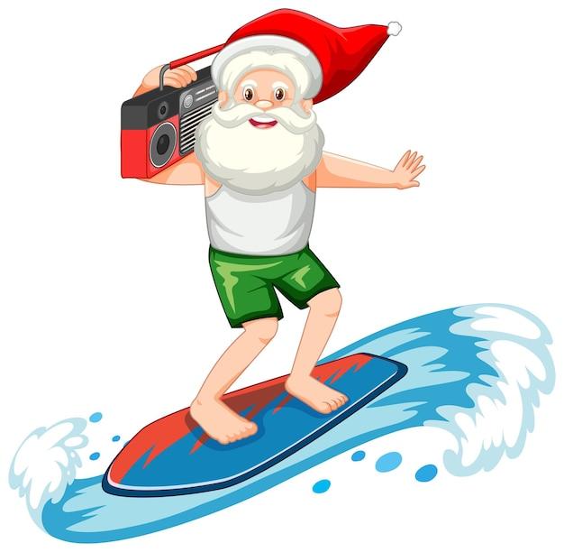 흰색 바탕에 여름 테마에서 서핑하는 산타 클로스