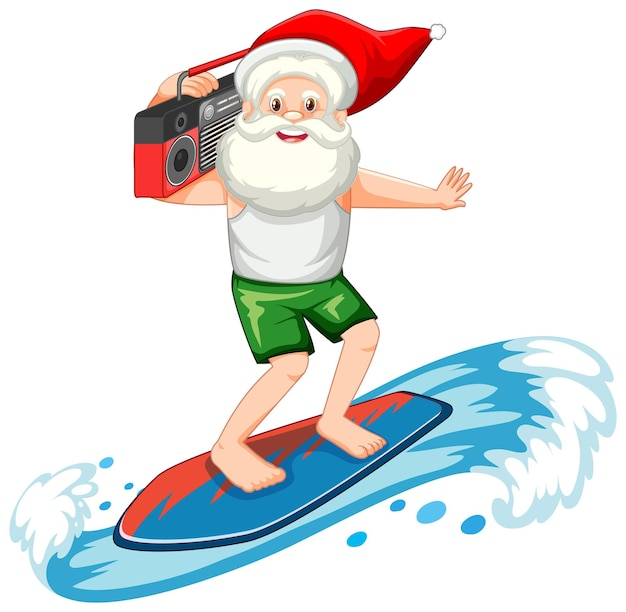 Santa claus surfing in summer theme on white background