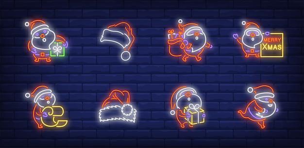 Santa claus symbols set in neon style