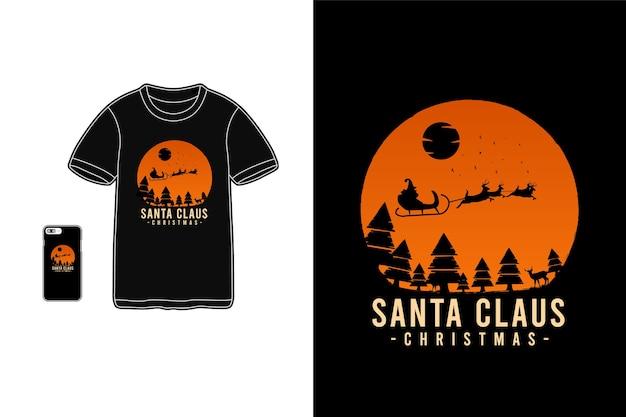 サンタクロース、tシャツ商品のモックアップ