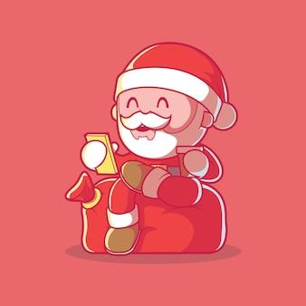 휴식 그림을 복용하는 산타 클로스. 크리스마스, 휴일, 기술 설계 개념.