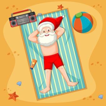Санта-клаус принимает солнечную ванну на пляже с летним элементом