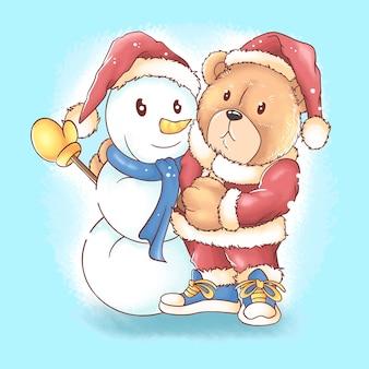 Santa claus teddy bear christmas with snowman watercolor