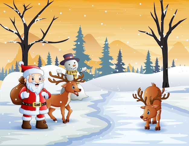 Santa claus and two deer in snowy forest landscape