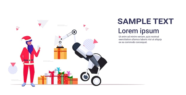 Santa claus using mobile app controlling industrial robot carrying gift present boxes merry christmas happy new year winter holidays