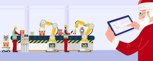 Санта-клаус с помощью планшета управляет промышленными роботами на фабрике игрушек.