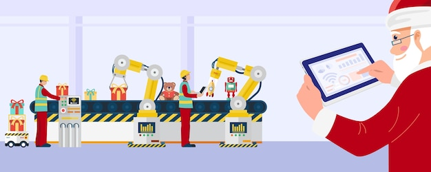 Santa claus using tablet control industrial robotic arms in toys factory.