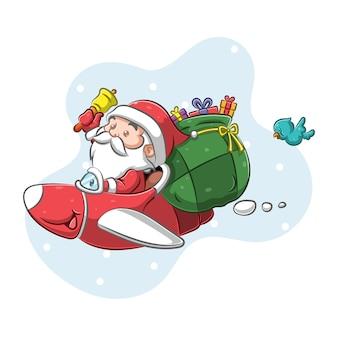 크리스마스 밤에 선물을주는 비행기를 사용하는 산타 클로스